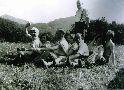 Zľava: Štefan Dérian, sestry Gelleové, Valér Kolárik, Eduard Horovitz a Július Chmelár s manželkou Klárou. Vzadu stojí Dr. Ladislav Rosenthal.
